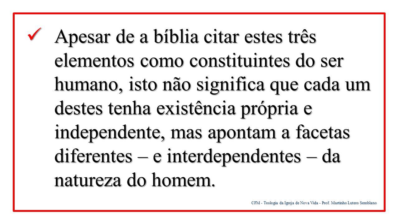 CFM - Teologia da Igreja de Nova Vida - Prof. Martinho Lutero Semblano Apesar de a bíblia citar estes três elementos como constituintes do ser humano,