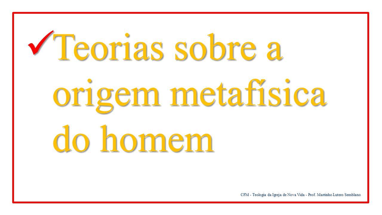 CFM - Teologia da Igreja de Nova Vida - Prof. Martinho Lutero Semblano Teorias sobre a origem metafísica do homem Teorias sobre a origem metafísica do