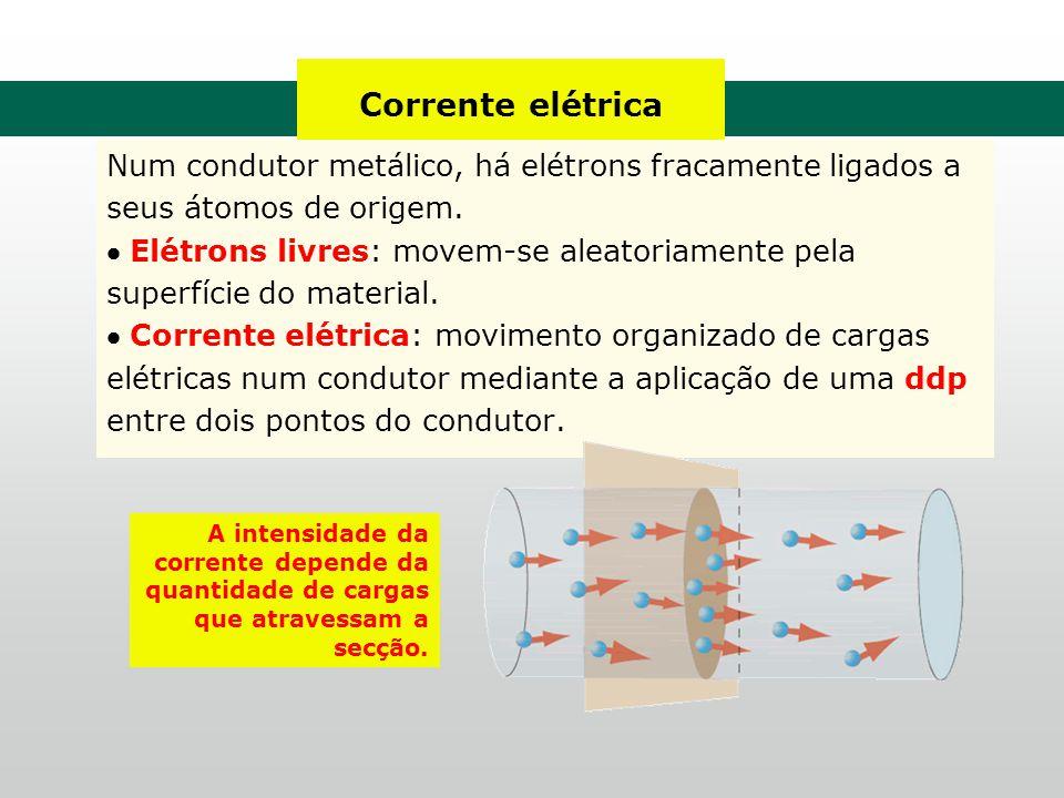 Corrente elétrica Num condutor metálico, há elétrons fracamente ligados a seus átomos de origem.  Elétrons livres: movem-se aleatoriamente pela super