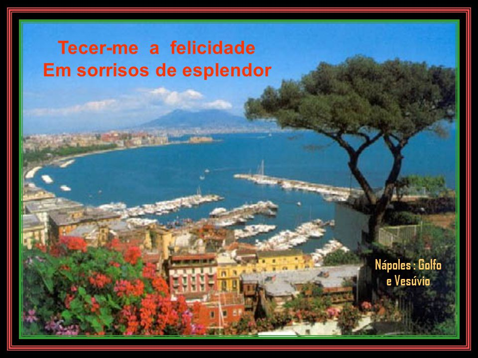 Vinhas nas bênçãos dos deuses Na divina claridade Golfo de Nápoles com Vesúvio