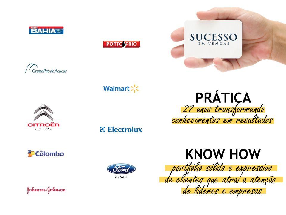 KNOW HOW PRÁTICA portfólio sólido e expressivo de clientes que atrai a atenção de líderes e empresas ABRADIF Grupo SHC 27 anos transformando conhecime