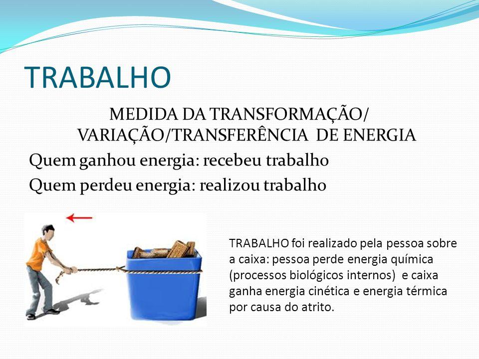 TRABALHO MEDIDA DA TRANSFORMAÇÃO/ VARIAÇÃO/TRANSFERÊNCIA DE ENERGIA Quem ganhou energia: recebeu trabalho Quem perdeu energia: realizou trabalho TRABA