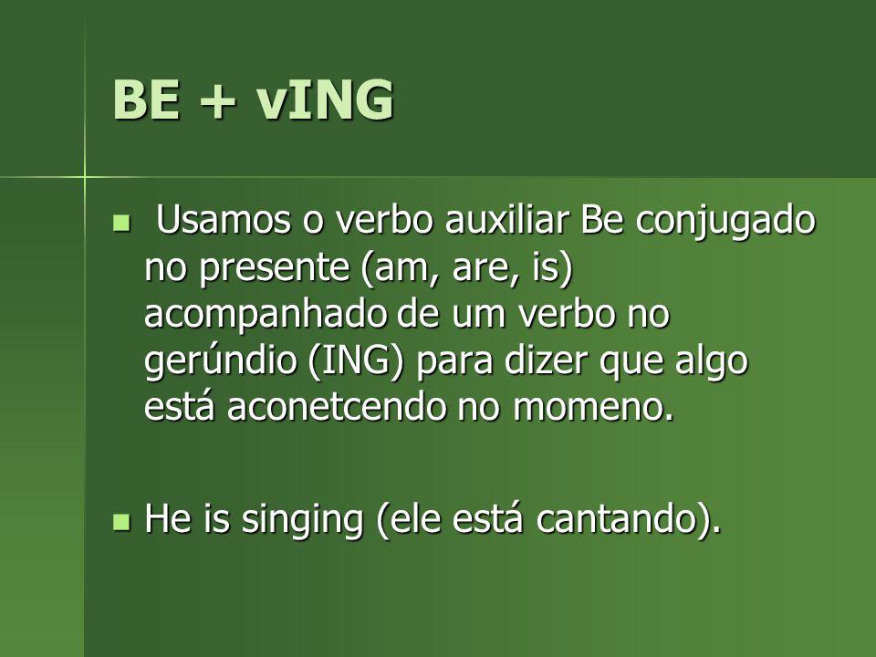 BE + vING Usamos o verbo auxiliar Be conjugado no presente (am, are, is) acompanhado de um verbo no gerúndio (ING) para dizer que algo está aconetcend