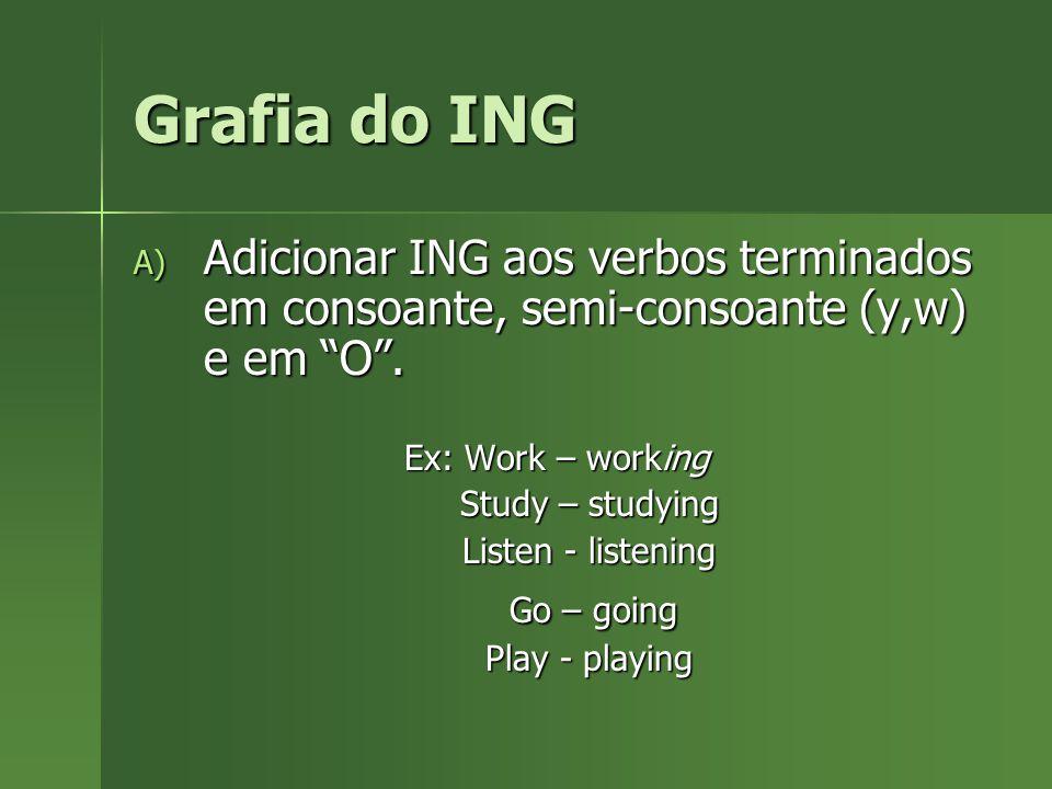 """Grafia do ING A) Adicionar ING aos verbos terminados em consoante, semi-consoante (y,w) e em """"O"""". Ex: Work – working Study – studying Study – studying"""