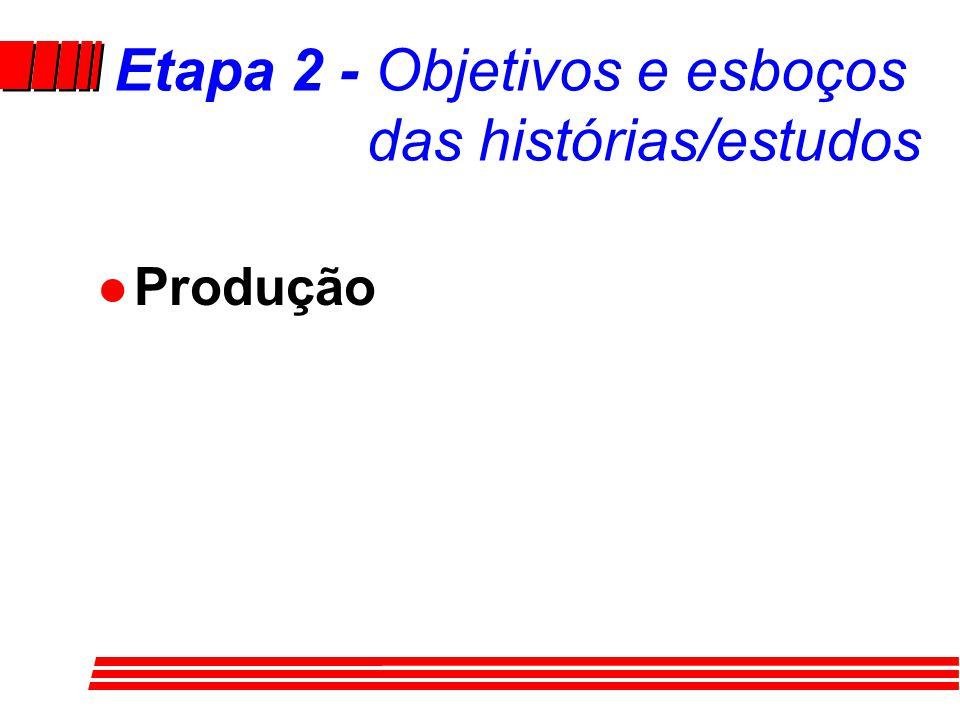 Etapa 2 Objetivos e esboços das histórias/estudos