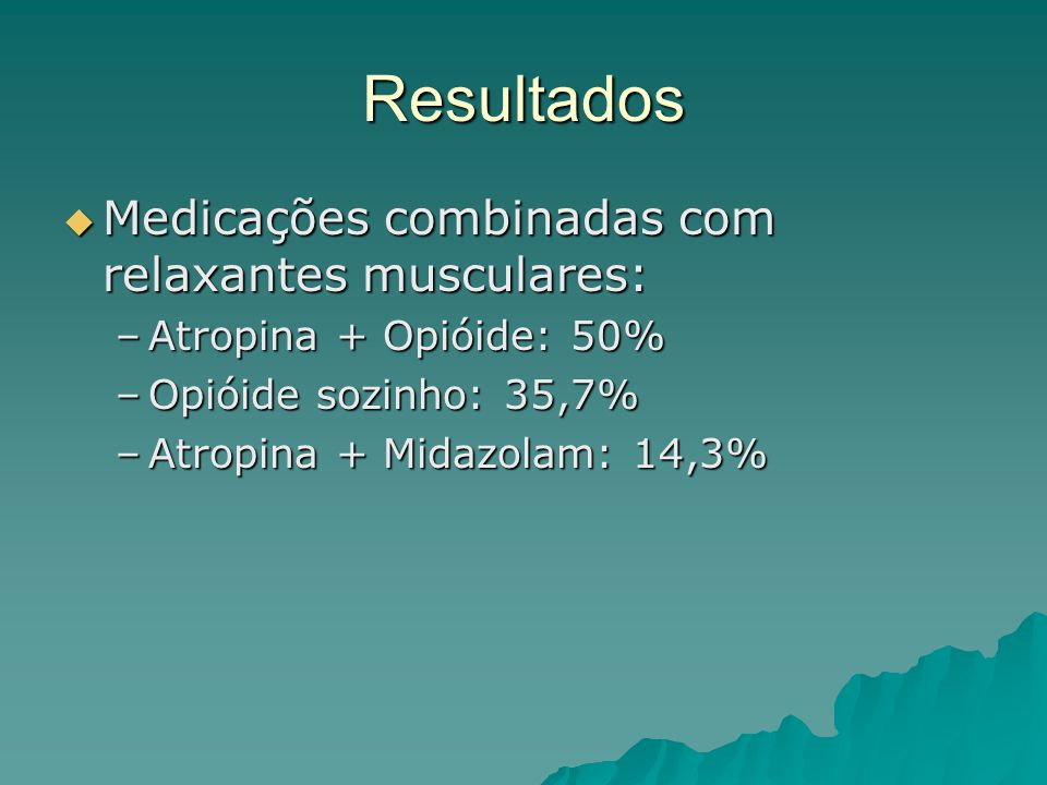 Resultados  Medicações combinadas com relaxantes musculares: –Atropina + Opióide: 50% –Opióide sozinho: 35,7% –Atropina + Midazolam: 14,3%