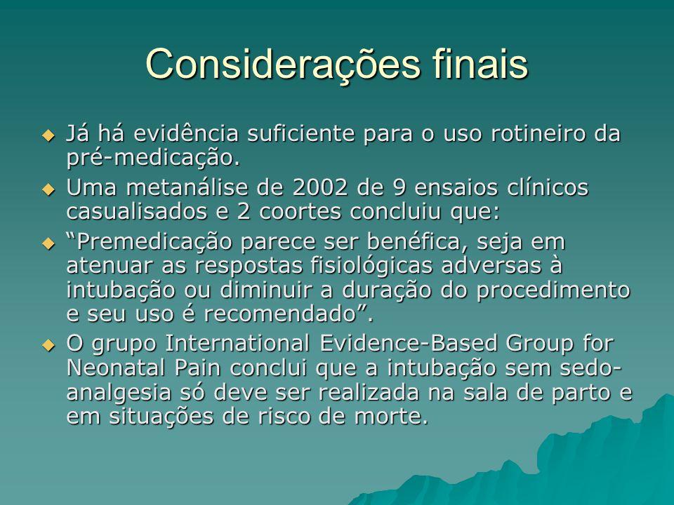 Considerações finais  Já há evidência suficiente para o uso rotineiro da pré-medicação.  Uma metanálise de 2002 de 9 ensaios clínicos casualisados e