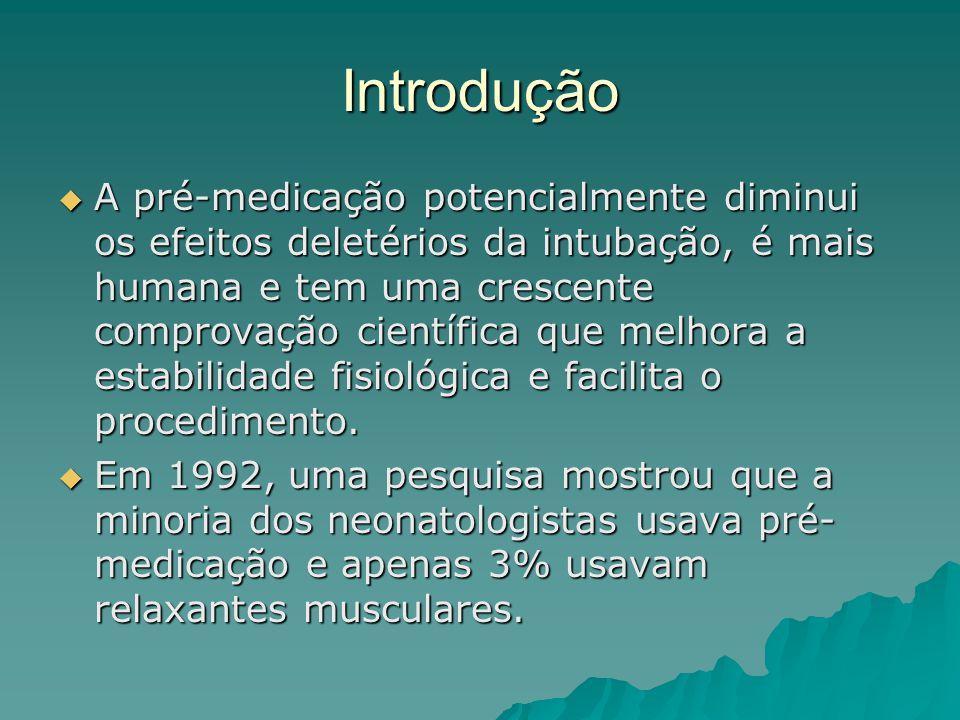 Introdução  A pré-medicação potencialmente diminui os efeitos deletérios da intubação, é mais humana e tem uma crescente comprovação científica que melhora a estabilidade fisiológica e facilita o procedimento.