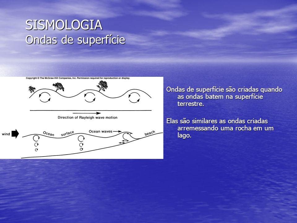 SISMOLOGIA Ondas de superfície Ondas de superfície são criadas quando as ondas batem na superfície terrestre. Elas são similares as ondas criadas arre