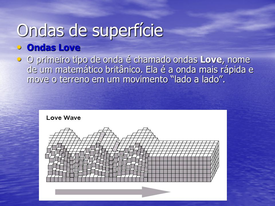 Ondas de superfície Ondas Love Ondas Love O primeiro tipo de onda é chamado ondas Love, nome de um matemático britânico. Ela é a onda mais rápida e mo