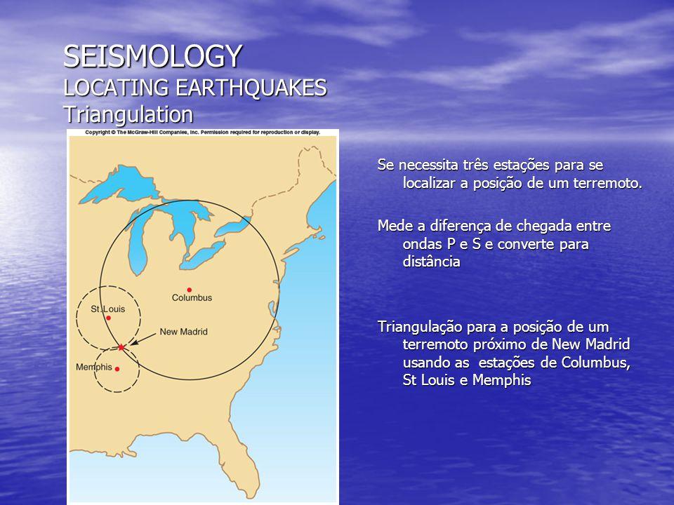 SEISMOLOGY LOCATING EARTHQUAKES Triangulation Se necessita três estações para se localizar a posição de um terremoto. Mede a diferença de chegada entr