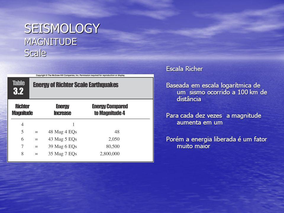 SEISMOLOGY MAGNITUDE Scale Escala Richer Baseada em escala logarítmica de um sismo ocorrido a 100 km de distância Para cada dez vezes a magnitude aume
