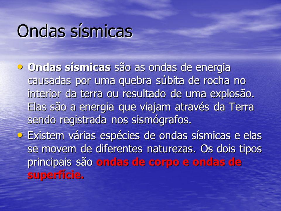 Ondas sísmicas Ondas sísmicas são as ondas de energia causadas por uma quebra súbita de rocha no interior da terra ou resultado de uma explosão. Elas