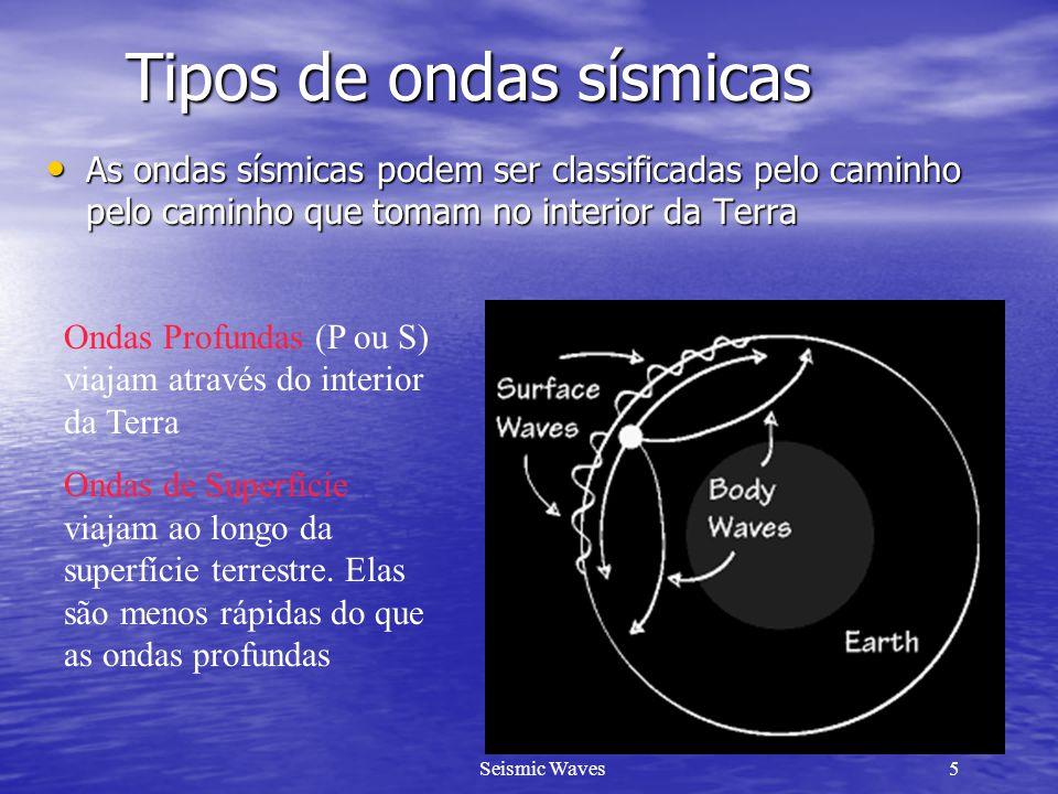 Seismic Waves5 Tipos de ondas sísmicas As ondas sísmicas podem ser classificadas pelo caminho pelo caminho que tomam no interior da Terra As ondas sís