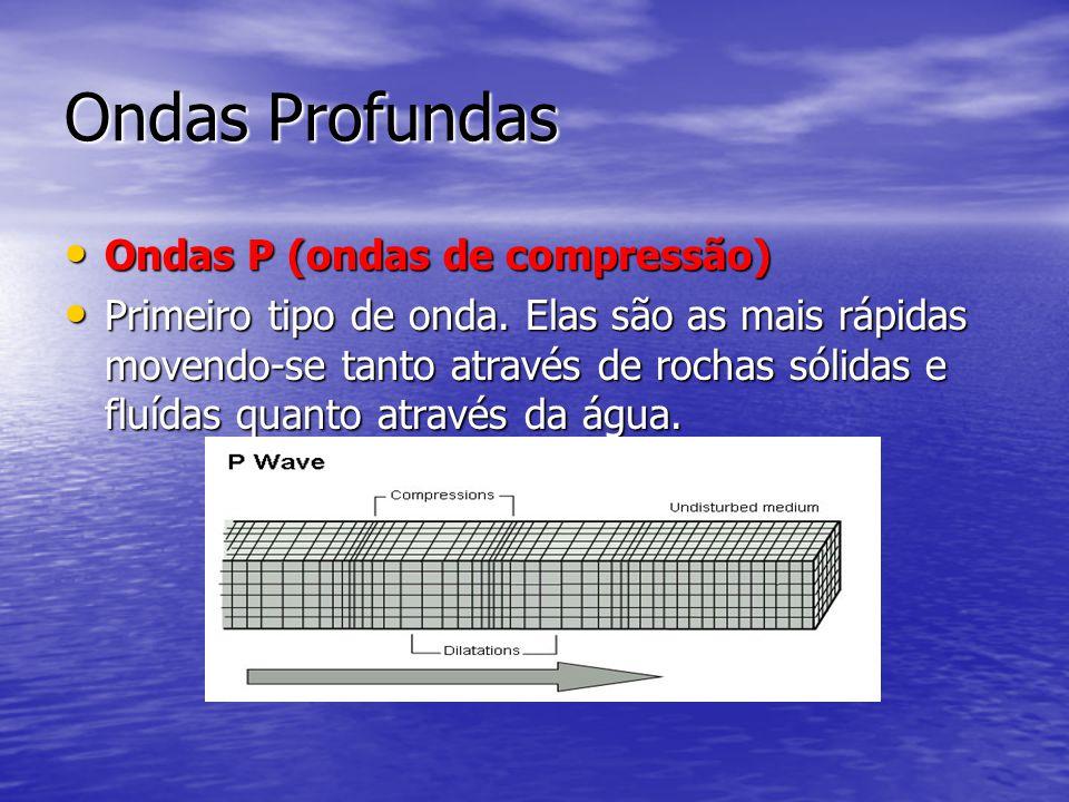 Ondas Profundas Ondas P (ondas de compressão) Ondas P (ondas de compressão) Primeiro tipo de onda. Elas são as mais rápidas movendo-se tanto através d