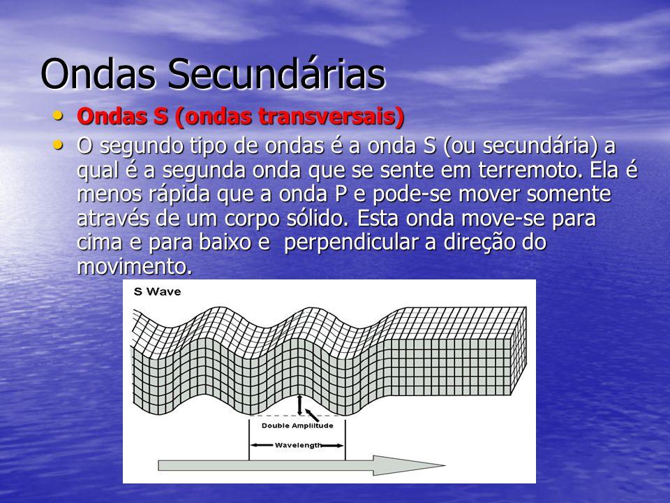 Ondas Secundárias Ondas S (ondas transversais) Ondas S (ondas transversais) O segundo tipo de ondas é a onda S (ou secundária) a qual é a segunda onda