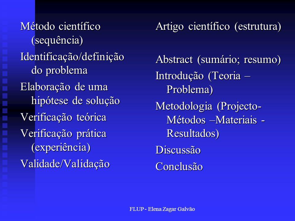 FLUP - Elena Zagar Galvão Método científico (sequência) Identificação/definição do problema Elaboração de uma hipótese de solução Verificação teórica
