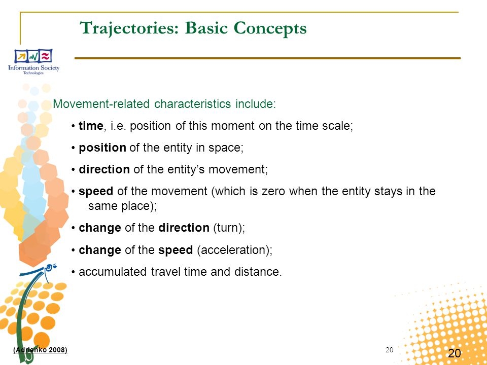 20 Trajectories: Basic Concepts Movement-related characteristics include: time, i.e.