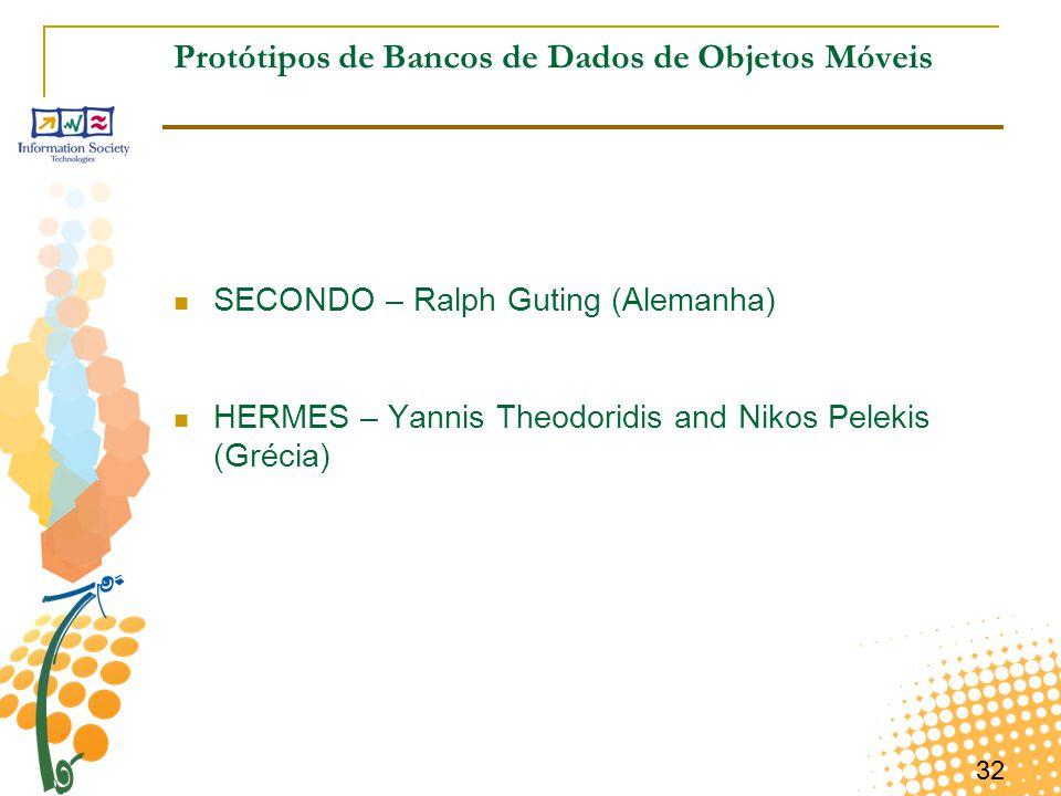 32 Protótipos de Bancos de Dados de Objetos Móveis SECONDO – Ralph Guting (Alemanha) HERMES – Yannis Theodoridis and Nikos Pelekis (Grécia)