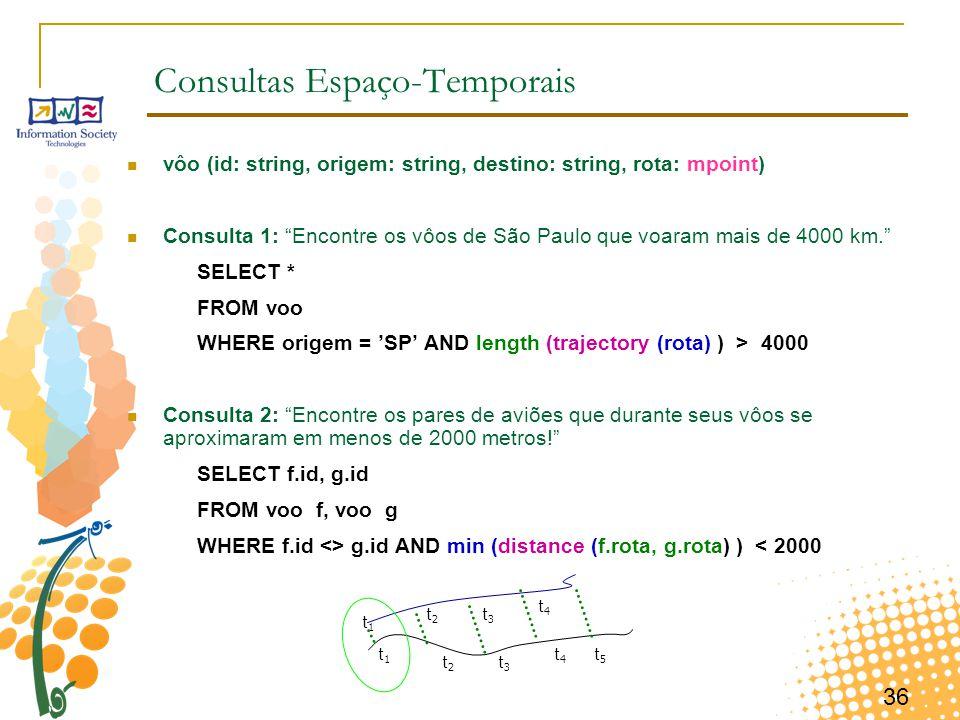 """36 Consultas Espaço-Temporais vôo (id: string, origem: string, destino: string, rota: mpoint) Consulta 1: """"Encontre os vôos de São Paulo que voaram ma"""