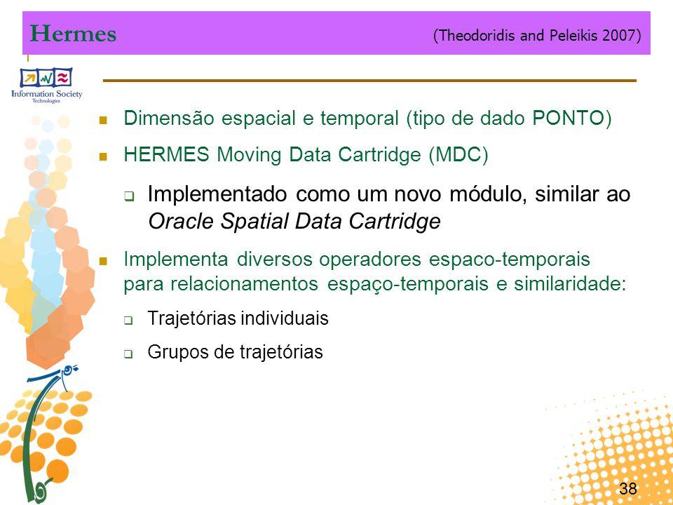38 Hermes Dimensão espacial e temporal (tipo de dado PONTO) HERMES Moving Data Cartridge (MDC)  Implementado como um novo módulo, similar ao Oracle S