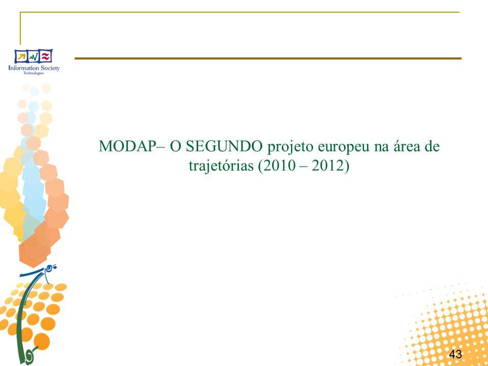 43 MODAP– O SEGUNDO projeto europeu na área de trajetórias (2010 – 2012)