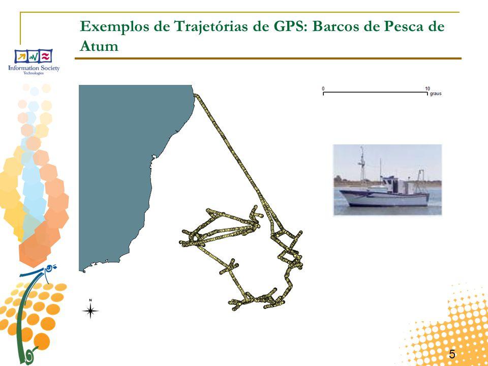 5 Exemplos de Trajetórias de GPS: Barcos de Pesca de Atum
