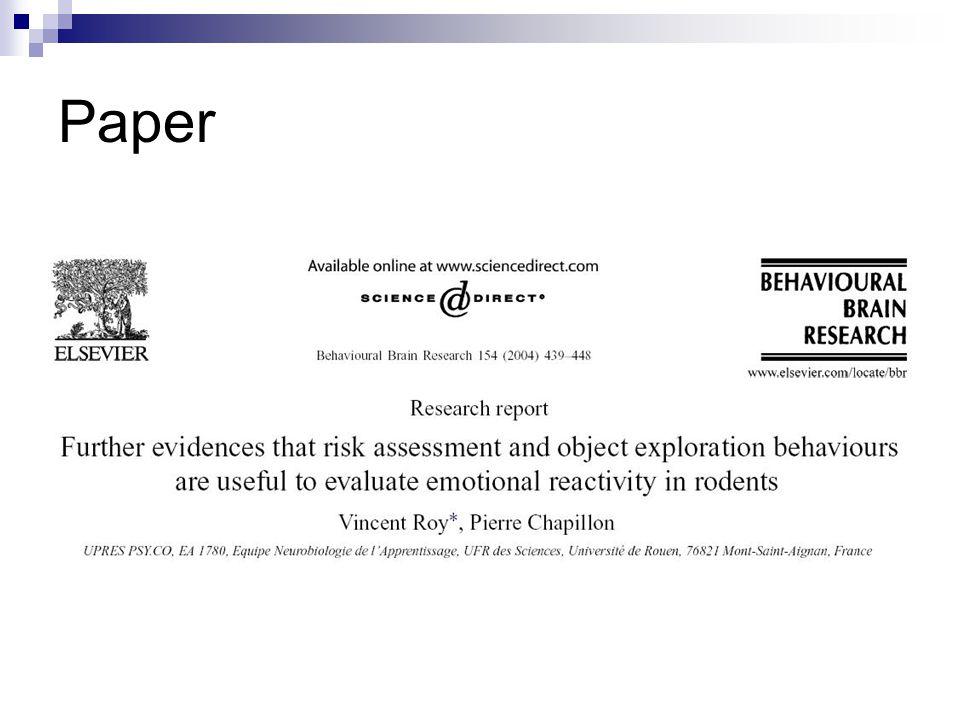 Introdução Modelos comportamentais de ansiedade; Conflitos motivacionais (incondicionados): situação nova; Parâmetros comportamentais que refletem exploração (locomoção, p.