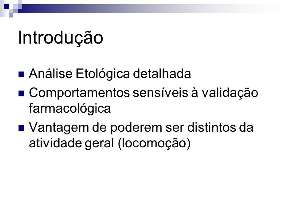 Introdução Análise Etológica detalhada Comportamentos sensíveis à validação farmacológica Vantagem de poderem ser distintos da atividade geral (locomoção)