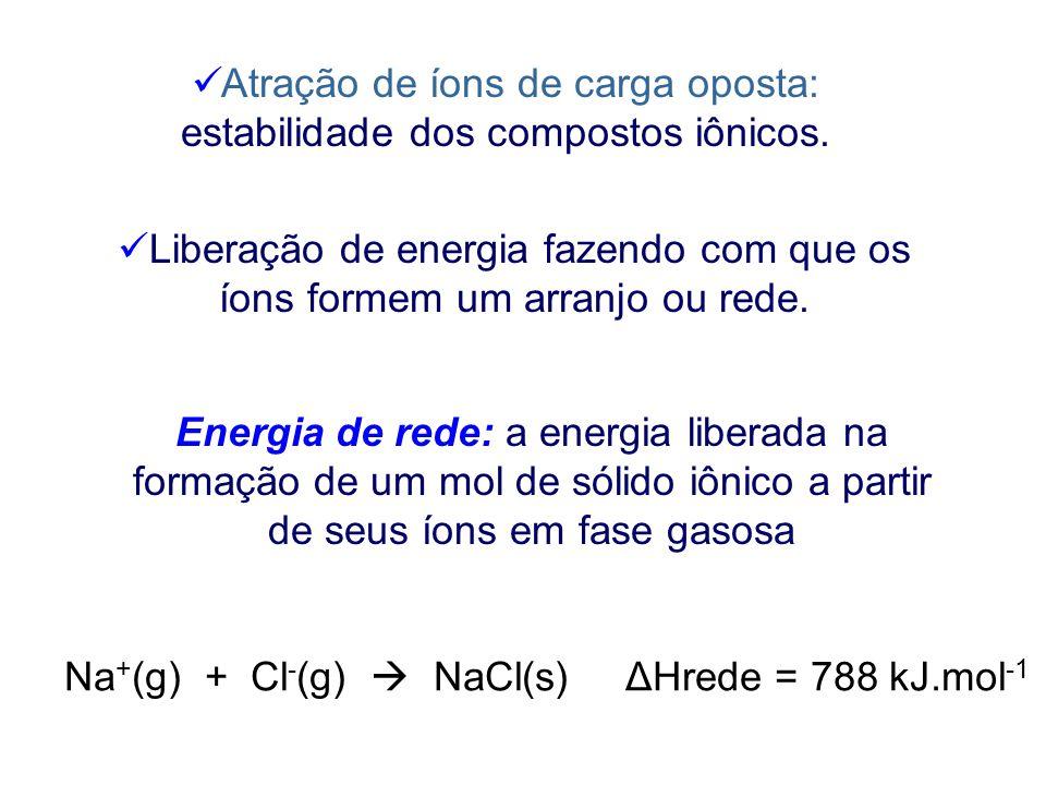 Reação do sódio com o cloro: exotérmica A remoção de um elétron de Na (g) para formar Na + (g) requer 496 kJ/mol. Adição de um elétron a Cl (g) libera