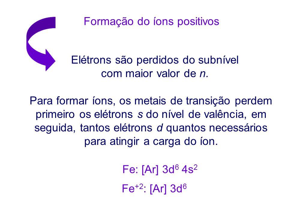 ÍONS DE METAIS DE TRANSIÇÃO Metais de transição Têm mais de três elétrons além do cerne de gás nobre. Ag: [Kr] 4d 10 5s 1 Os metais Cu, Ag, Au geralme