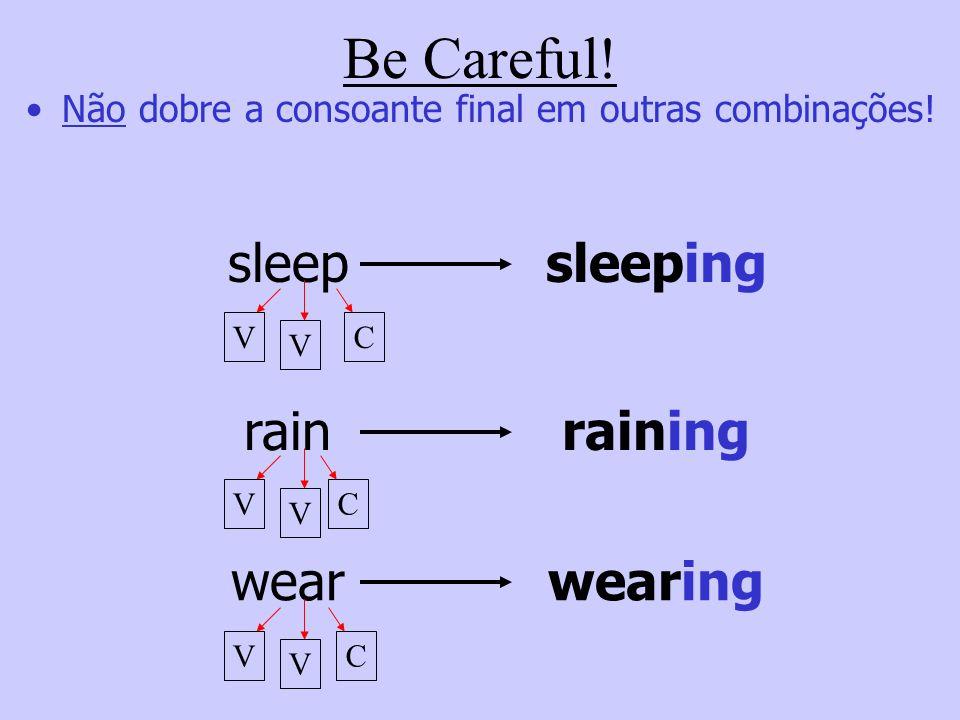 Nos verbos monossilábicos que apresentam uma sequência de consoante + vogal + consoante, repita a consoante final e acrescente –ing. runrunning sitsit