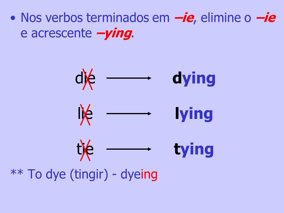 Nos verbos dissilábicos terminados em consoante + vogal tônica + consoante, repita a consoante final e acrescente –ing. forgetforgetting admitadmittin
