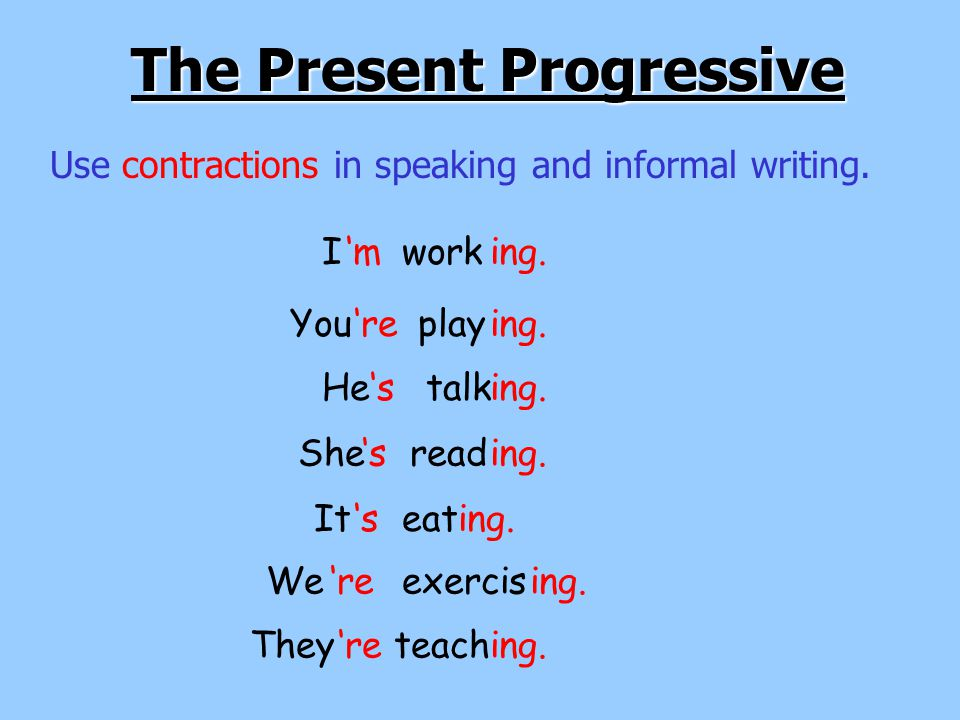 Verb To Be (am, is, are) + a verb with –ing.The Present Progressive Iamworking.