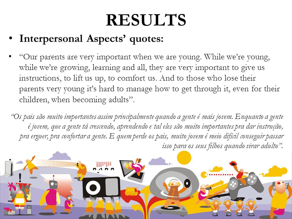 RESULTS Interpersonal Aspects' quotes: Our parents are very important when we are young.