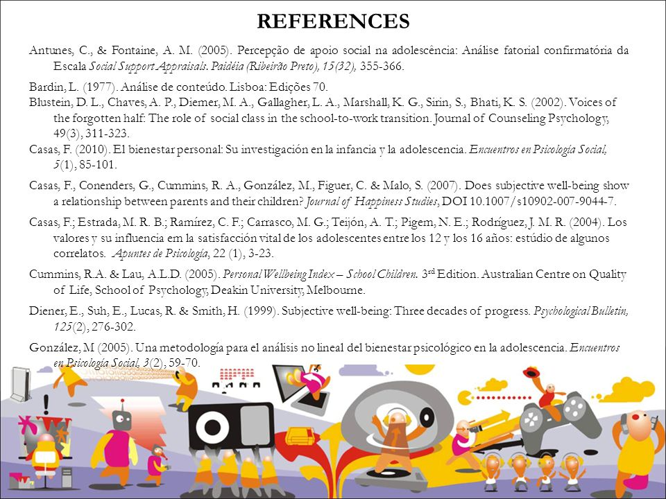 REFERENCES Antunes, C., & Fontaine, A. M. (2005).