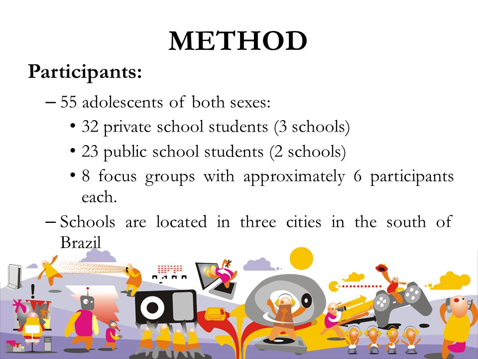 METHOD Participants: – 55 adolescents of both sexes: 32 private school students (3 schools) 23 public school students (2 schools) 8 focus groups with approximately 6 participants each.