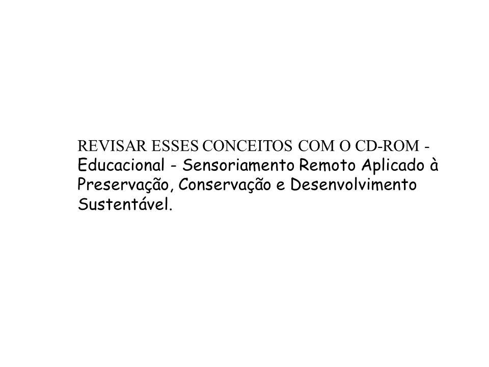 REVISAR ESSES CONCEITOS COM O CD-ROM - Educacional - Sensoriamento Remoto Aplicado à Preservação, Conservação e Desenvolvimento Sustentável.
