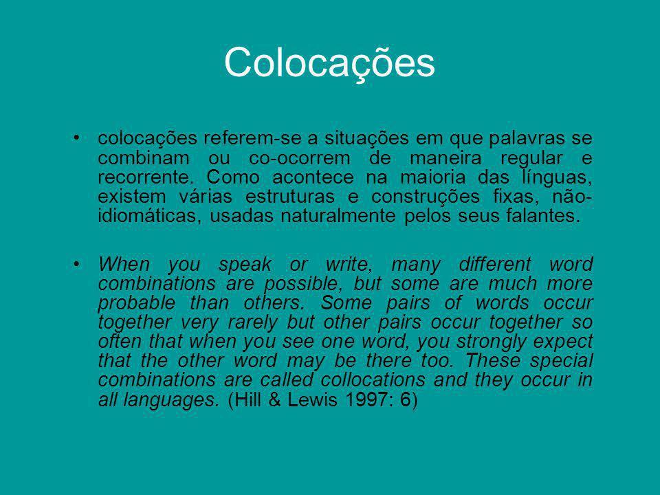 Colocações Também chamadas de combinações recorrentes (recurrent combinations) ou combinações fixas (fixed combinations), as colocações (collocations) podem ser subdivididas em: colocações gramaticaiscolocações lexicais (Benson, Benson & Ilson, 1993)