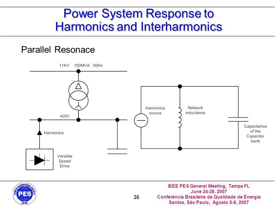 IEEE PES General Meeting, Tampa FL June 24-28, 2007 Conferência Brasileira de Qualidade de Energia Santos, São Paulo, Agosto 5-8, 2007 36 Power System