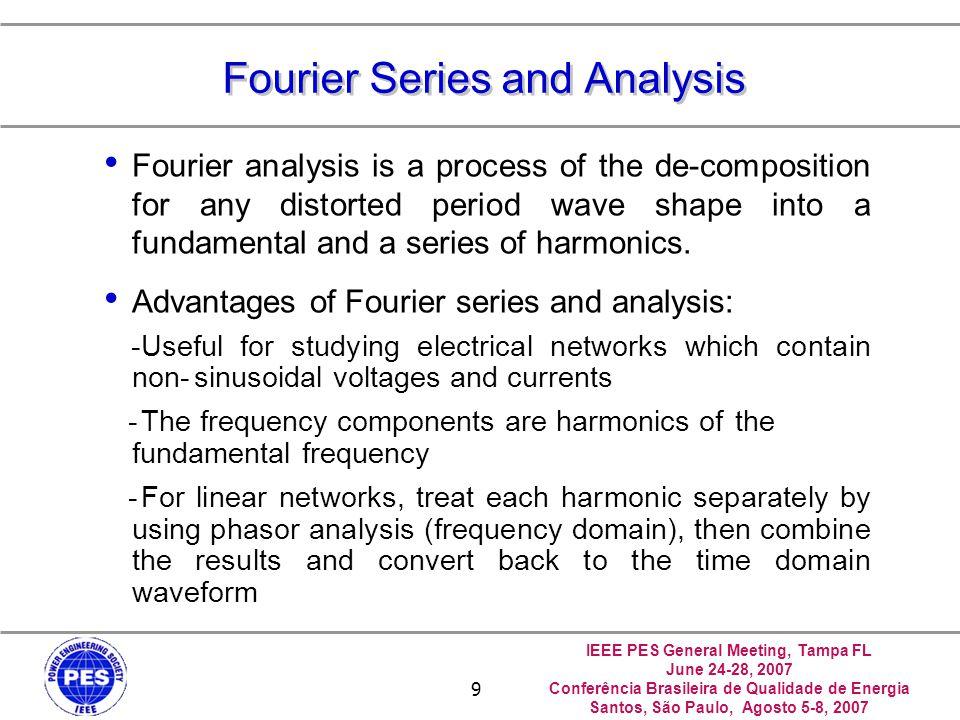 IEEE PES General Meeting, Tampa FL June 24-28, 2007 Conferência Brasileira de Qualidade de Energia Santos, São Paulo, Agosto 5-8, 2007 9 Fourier Serie