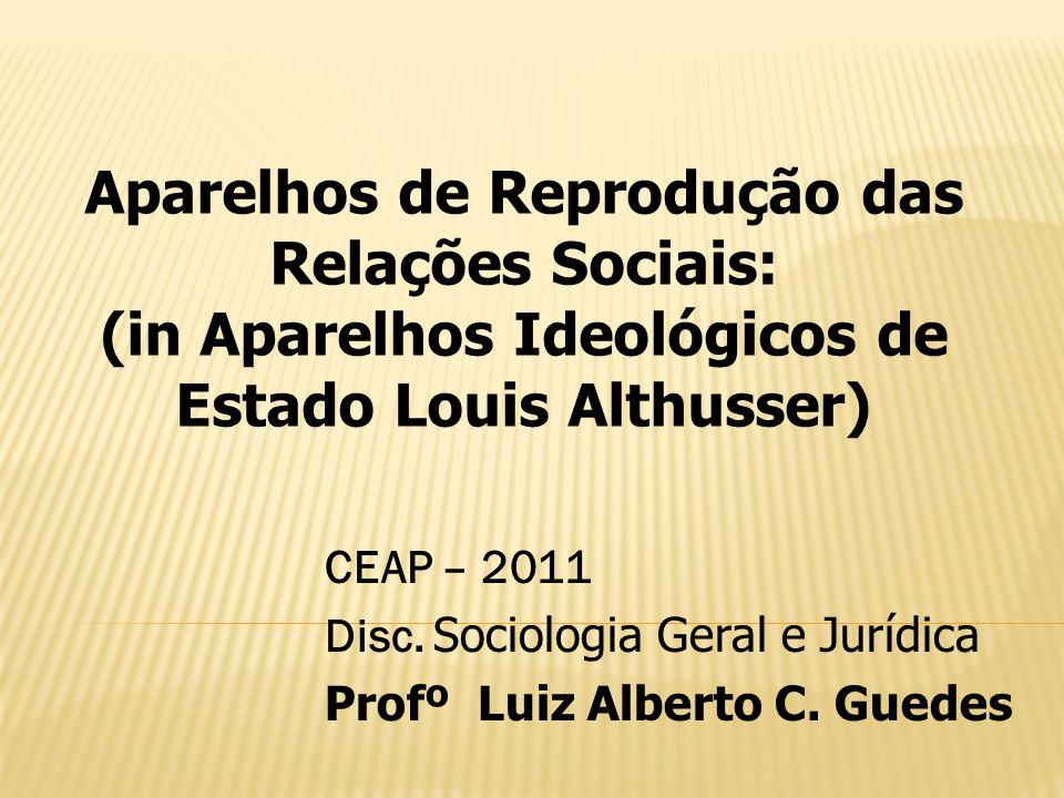 Aparelhos de Reprodução das Relações Sociais: (in Aparelhos Ideológicos de Estado Louis Althusser) CEAP – 2011 Disc. Sociologia Geral e Jurídica Profº