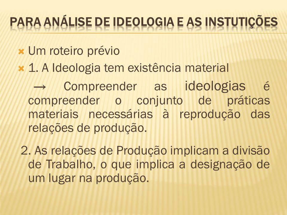  Um roteiro prévio  1. A Ideologia tem existência material → Compreender as ideologias é compreender o conjunto de práticas materiais necessárias à