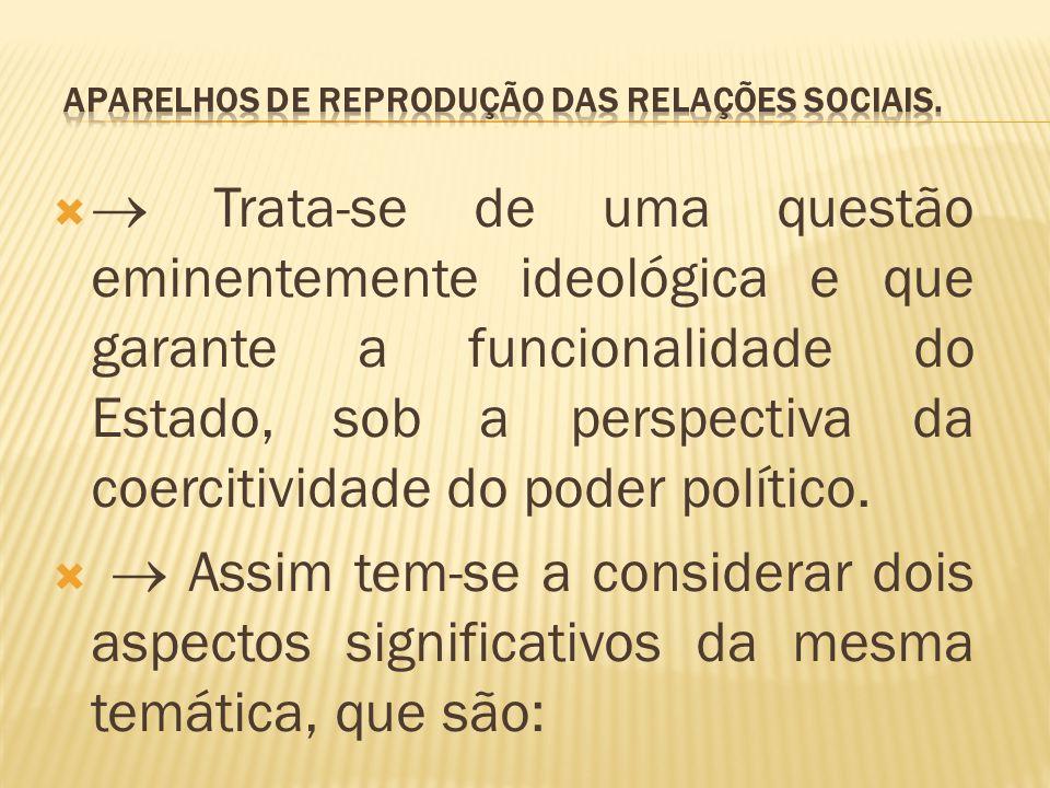   Trata-se de uma questão eminentemente ideológica e que garante a funcionalidade do Estado, sob a perspectiva da coercitividade do poder político.