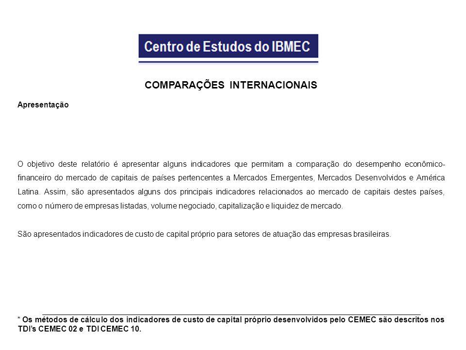 COMPARAÇÕES INTERNACIONAIS Apresentação O objetivo deste relatório é apresentar alguns indicadores que permitam a comparação do desempenho econômico- financeiro do mercado de capitais de países pertencentes a Mercados Emergentes, Mercados Desenvolvidos e América Latina.
