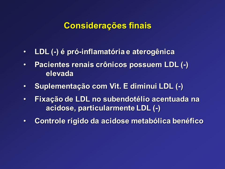 LDL (-) é pró-inflamatória e aterogênicaLDL (-) é pró-inflamatória e aterogênica Pacientes renais crônicos possuem LDL (-) elevadaPacientes renais crô