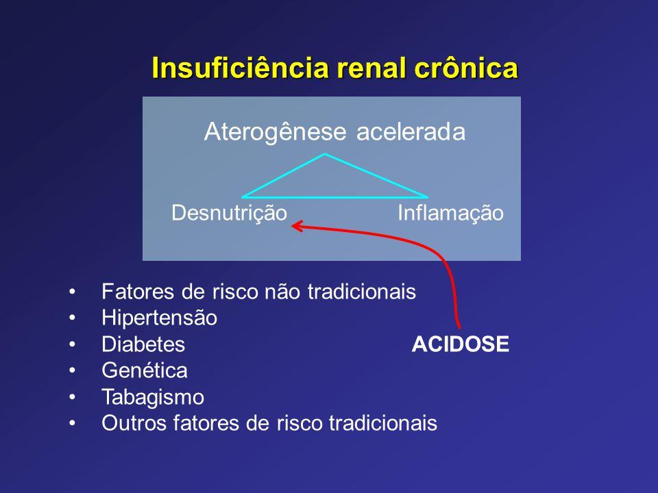 Insuficiência renal crônica Aterogênese acelerada Desnutrição Inflamação Fatores de risco não tradicionais Hipertensão Diabetes ACIDOSE Genética Tabag