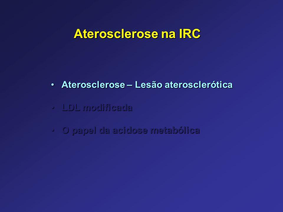 Aterosclerose na IRC Aterosclerose – Lesão ateroscleróticaAterosclerose – Lesão aterosclerótica LDL modificadaLDL modificada O papel da acidose metabó