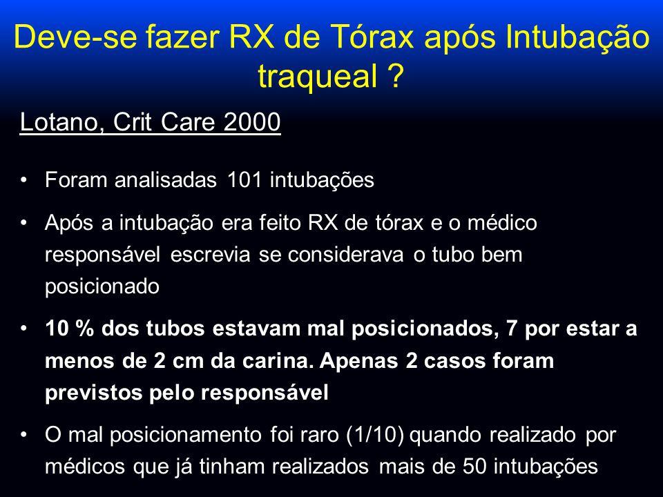 Deve-se fazer RX de Tórax após Intubação traqueal ? Lotano, Crit Care 2000 Foram analisadas 101 intubações Após a intubação era feito RX de tórax e o