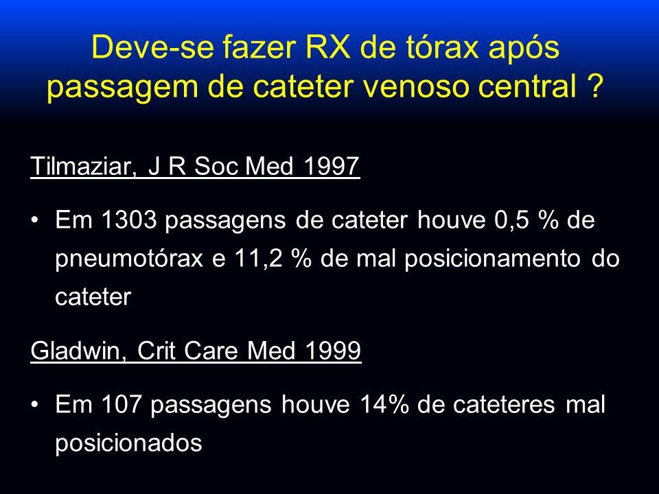 Deve-se fazer RX de tórax após passagem de cateter venoso central ? Tilmaziar, J R Soc Med 1997 Em 1303 passagens de cateter houve 0,5 % de pneumotóra